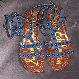 Sam Edel Leather Eavan Gladiator Sandal Gold/Blue